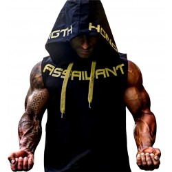 Camiseta sin mangas con capucha para entrenar. Ropa fitness hombre. (chaleco yellow letters)