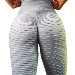 Mallas running mujer fitness brocadas con fruncido. Push up. (brasil gris)