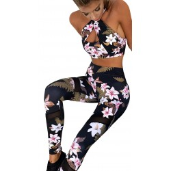 Mallas y top running mujer pilates, zumba, andar, gimnasio. Ropa fitness mujer conjunto. (floral negro)